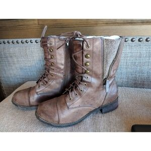 Soda Combat Boots - Faux Leather
